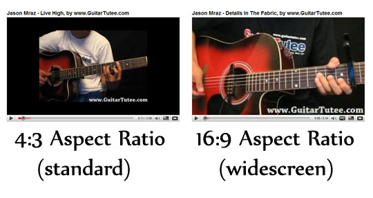 Comparison of GuitarTutee Youtube Videos--  Before - 4:3 Aspect Ratio (standard) vs After - 16:9 Aspect Ratio (widescreen)